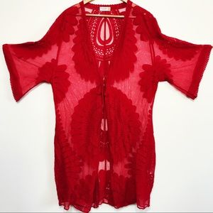Style Apparel Embroidered Red Lace Kimono Robe LG
